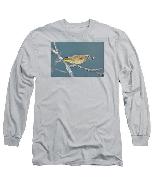 Palm Warbler Lunch Long Sleeve T-Shirt by Alan Lenk