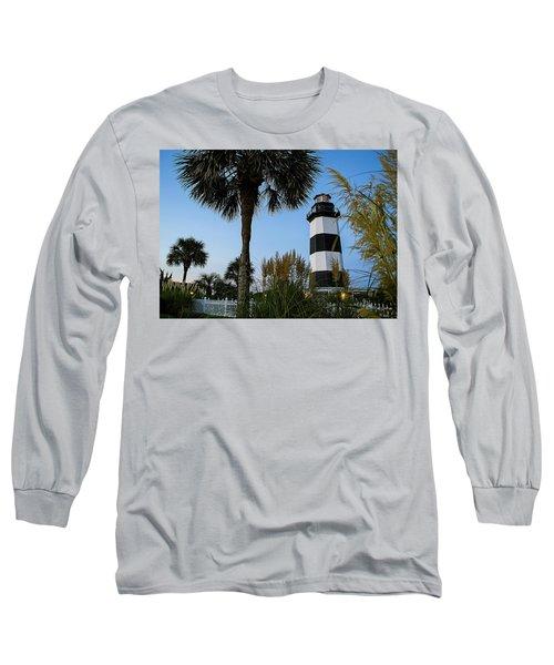 Pampas Grass, Palms And Lighthouse Long Sleeve T-Shirt
