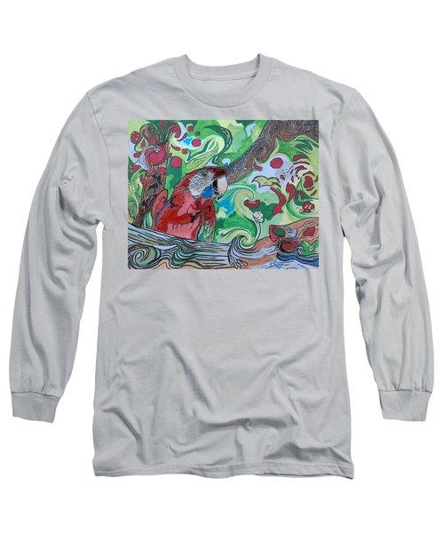 Parrot Kaleidoscope  Long Sleeve T-Shirt by Tony Clark