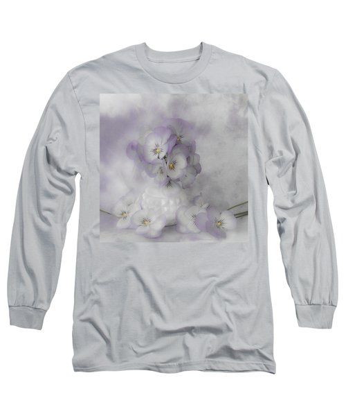 Pastel Pansies Still Life Long Sleeve T-Shirt by Sandra Foster