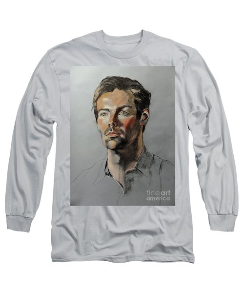 Pastel Portrait Of Handsome Guy Long Sleeve T-Shirt