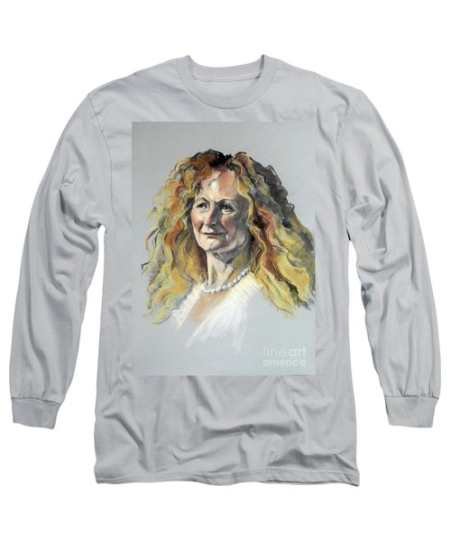 Pastel Portrait Of Woman With Frizzy Hair Long Sleeve T-Shirt