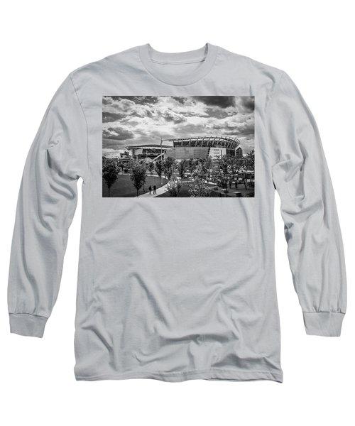 Paul Brown Stadium Black And White Long Sleeve T-Shirt by Scott Meyer