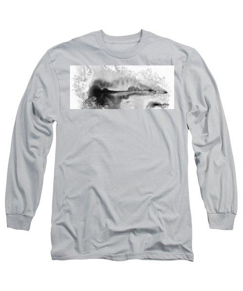 Peaceful Evening - Abstract Ink Rural Landscape Art Long Sleeve T-Shirt