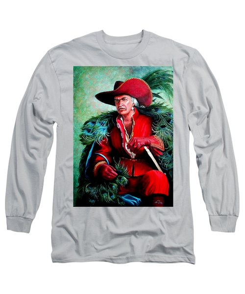 Long Sleeve T-Shirt featuring the painting Peacock Feathers Connery by Loxi Sibley