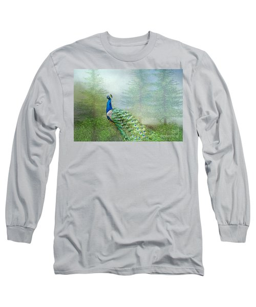 Peacock In The Forest Long Sleeve T-Shirt by Bonnie Barry