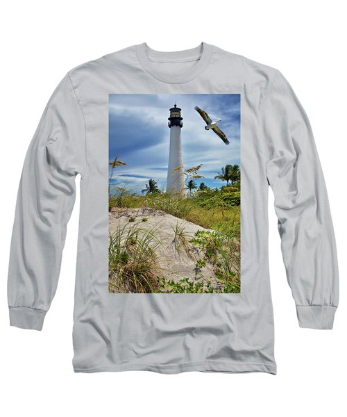 Pelican Flying Over Cape Florida Lighthouse Long Sleeve T-Shirt
