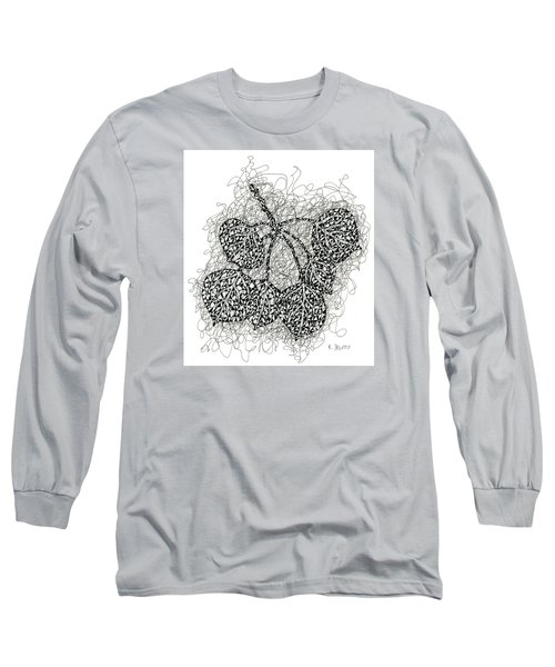 Pen And Ink Drawing Of Aspen Leaves Long Sleeve T-Shirt