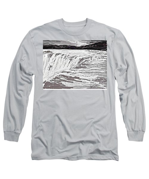 Long Sleeve T-Shirt featuring the drawing Pencil Falls by Desline Vitto