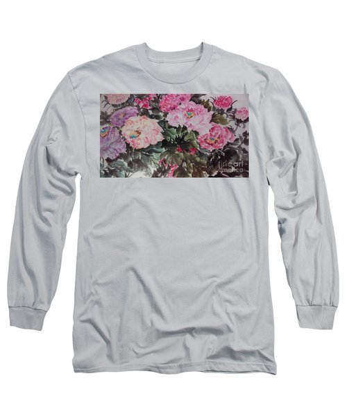 Long Sleeve T-Shirt featuring the painting Peony20170126_2 by Dongling Sun