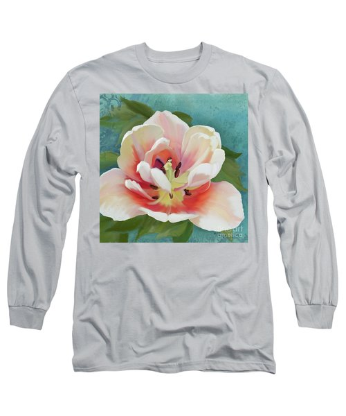 Long Sleeve T-Shirt featuring the painting Perfection - Single Tulip Blossom by Audrey Jeanne Roberts