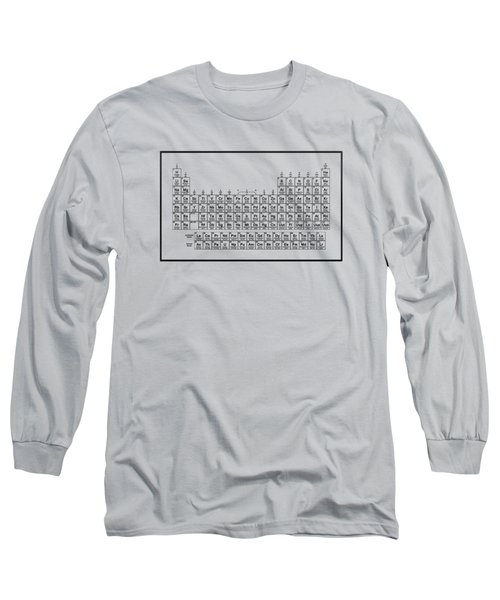 Periodic Table Of Elements - Black On Light Metal Long Sleeve T-Shirt