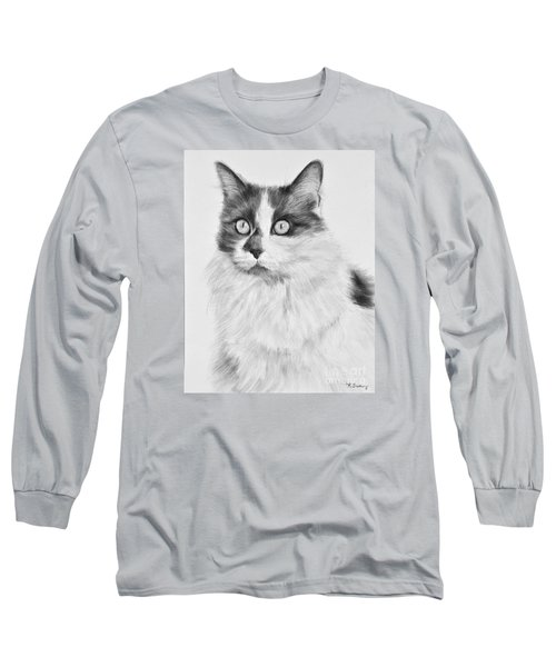 Pet Cat Drawing Olivia Long Sleeve T-Shirt by Kate Sumners