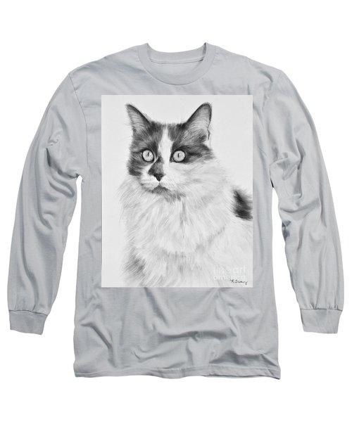Pet Cat Drawing Olivia Long Sleeve T-Shirt