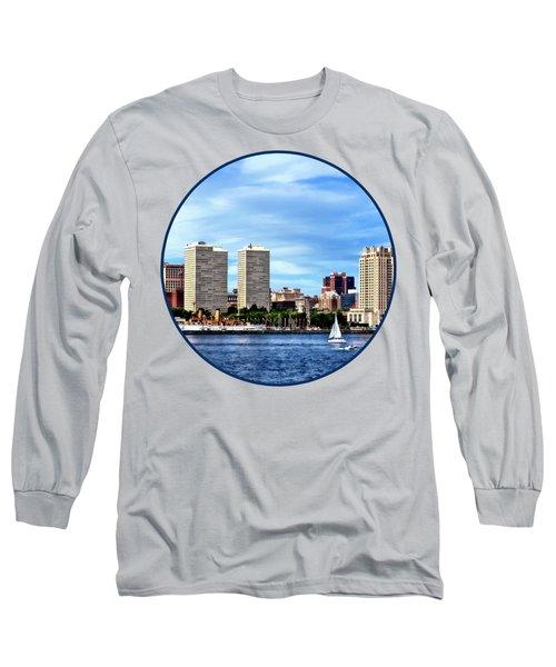 Philadelphia Pa Skyline Long Sleeve T-Shirt by Susan Savad
