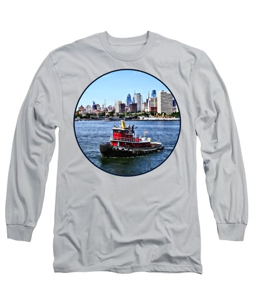 Philadelphia Pa - Tugboat By Philadelphia Skyline Long Sleeve T-Shirt by Susan Savad