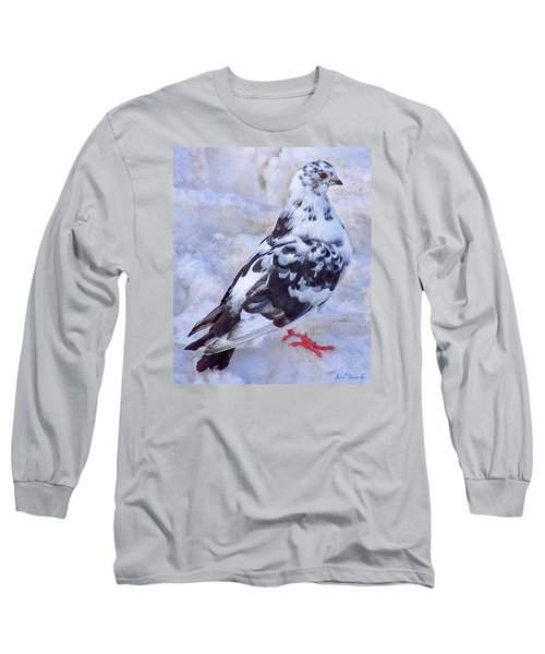 Long Sleeve T-Shirt featuring the photograph Pigeon On Ice  1 by John Selmer Sr