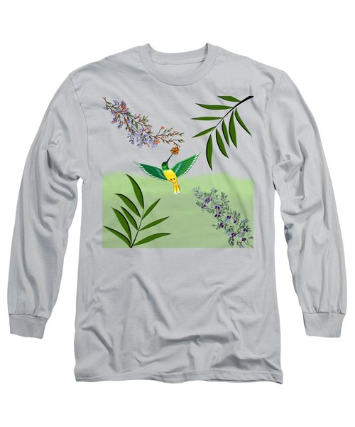 Humming Bird On Transparent Background Long Sleeve T-Shirt