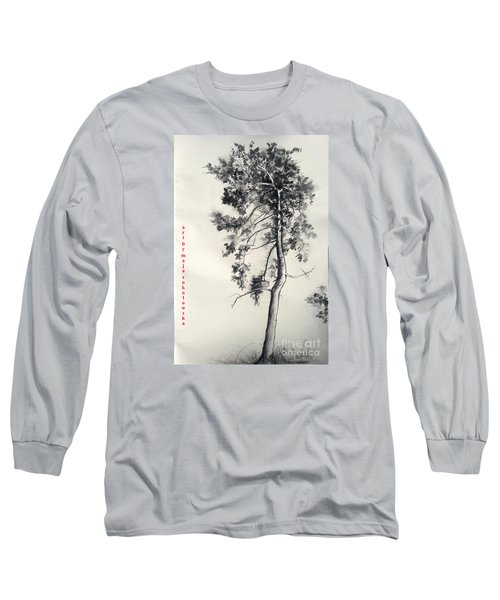 Long Sleeve T-Shirt featuring the drawing Pine Drawing by Maja Sokolowska