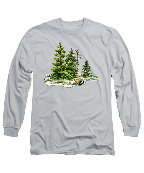 Pine Tree Watercolor Ink Image I         Long Sleeve T-Shirt