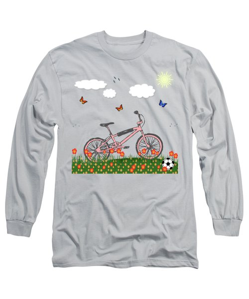Pink Bicycle Long Sleeve T-Shirt by Gaspar Avila