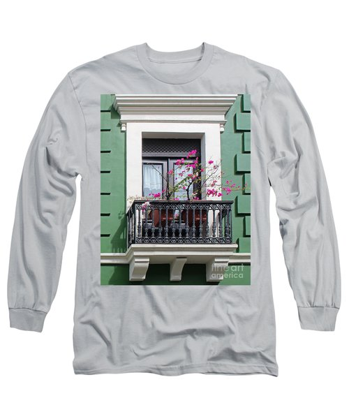 Pink Flowers On Balcony Long Sleeve T-Shirt by Cheryl Del Toro