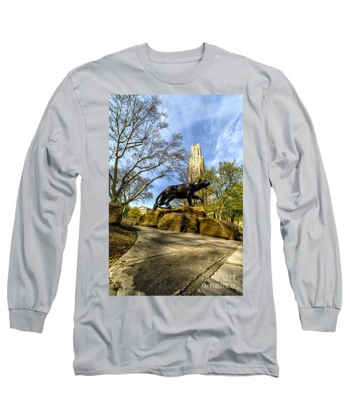 Pitt Panther Cathedral Of Learning Long Sleeve T-Shirt by Thomas R Fletcher