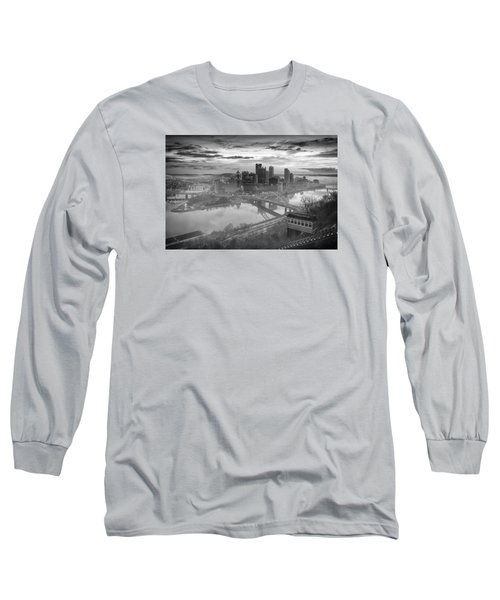 Pittsburgh Architecture 10 Bw Long Sleeve T-Shirt by Emmanuel Panagiotakis