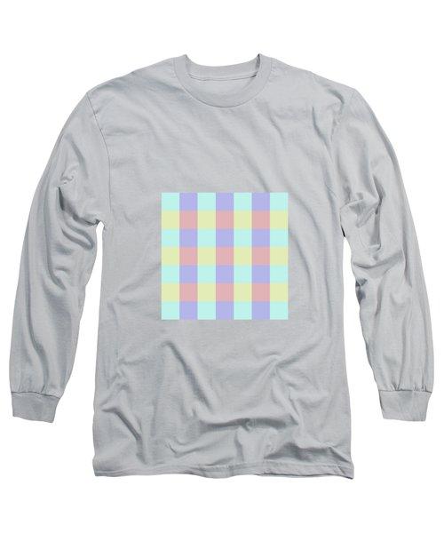 Plaid Blue Soft Yellow Rose Blush Lavender Cyan Tetradic Colour Blocks Long Sleeve T-Shirt