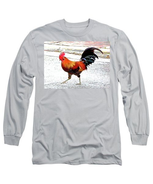 Long Sleeve T-Shirt featuring the mixed media Playing Chicken by Charles Shoup