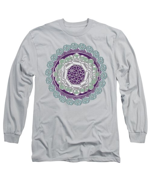 Plum Mint Art Deco Daisy Flower Long Sleeve T-Shirt