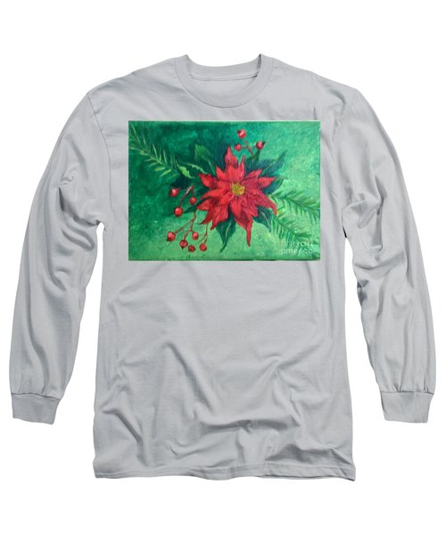 Long Sleeve T-Shirt featuring the painting Poinsettia by Lucia Grilletto