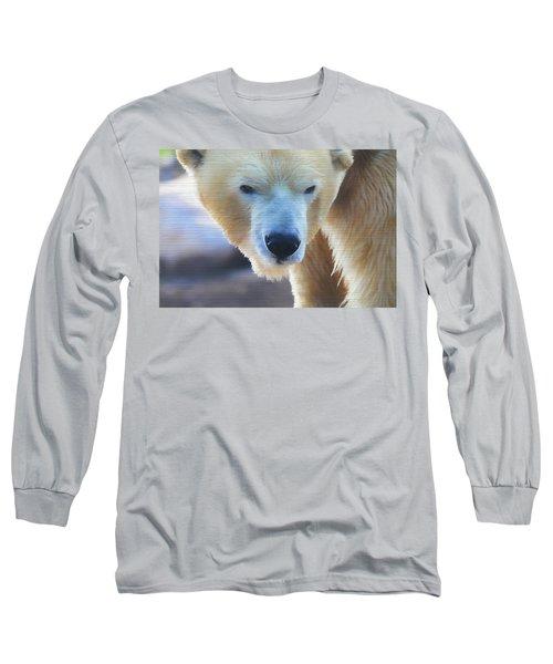 Polar Bear Wooden Texture Long Sleeve T-Shirt by Dan Sproul