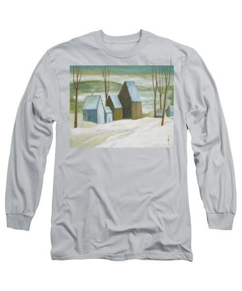 Long Sleeve T-Shirt featuring the painting Pond Farm In Winter by Glenn Quist