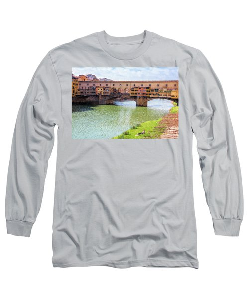 Long Sleeve T-Shirt featuring the photograph Ponte Vecchio Florence Italy II Painterly by Joan Carroll
