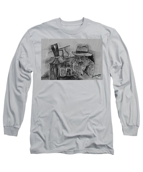 Popcorn Sutton - Black And White - Waiting On Shine Long Sleeve T-Shirt