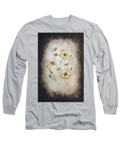 Poppies On Black Long Sleeve T-Shirt