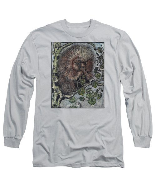 Long Sleeve T-Shirt featuring the drawing Porcupine In Aspen by Dawn Senior-Trask