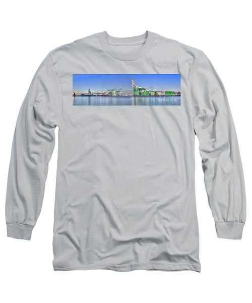 Port Of Los Angeles - Panoramic Long Sleeve T-Shirt