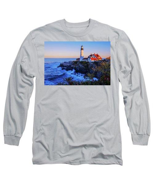Portland Head Light II Long Sleeve T-Shirt by Chad Dutson