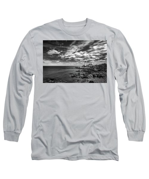 Portland Head Light In Black And White Long Sleeve T-Shirt