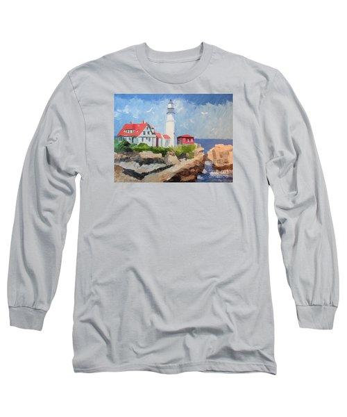 Portland Headlight By The Sea Long Sleeve T-Shirt