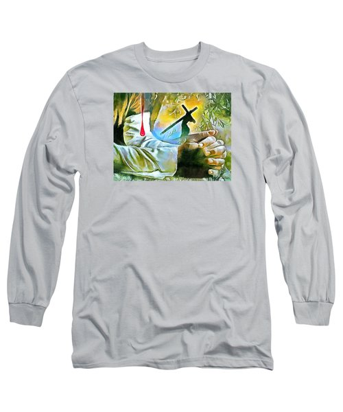 Prayer And The Blood Long Sleeve T-Shirt by Wayne Pascall