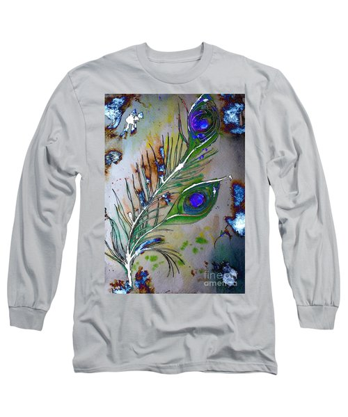 Long Sleeve T-Shirt featuring the painting Pretty As A Peacock by Denise Tomasura