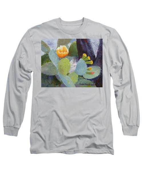 Prickly Pear In Bloom Long Sleeve T-Shirt by Susan Woodward