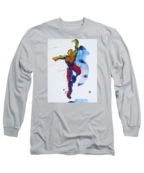 Long Sleeve T-Shirt featuring the painting Primary Vertical Jump Shadow by Shungaboy X