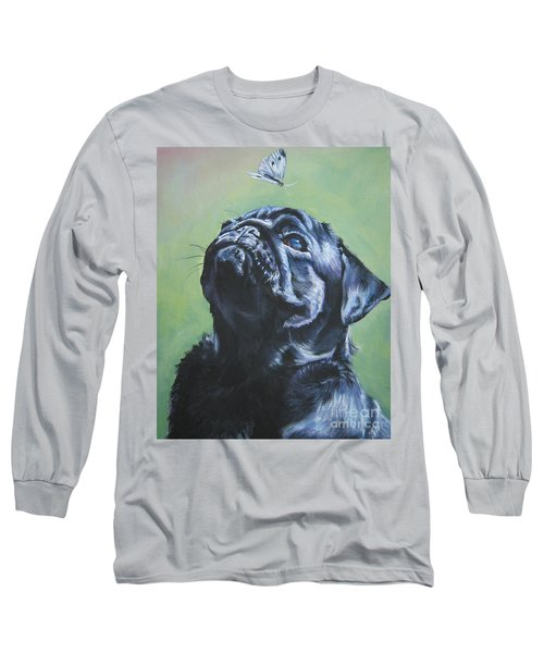 Pug Black  Long Sleeve T-Shirt by Lee Ann Shepard