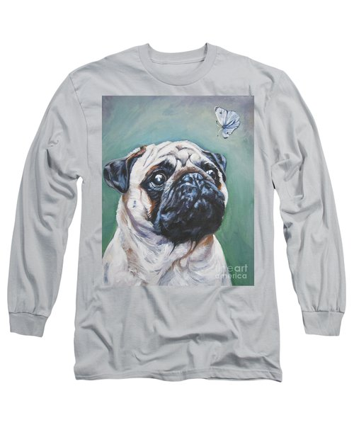Pug With Butterfly Long Sleeve T-Shirt by Lee Ann Shepard