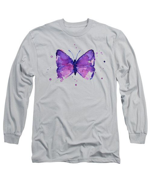 Purple Abstract Butterfly Long Sleeve T-Shirt