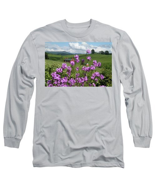 Purple Flower In Landscape Long Sleeve T-Shirt